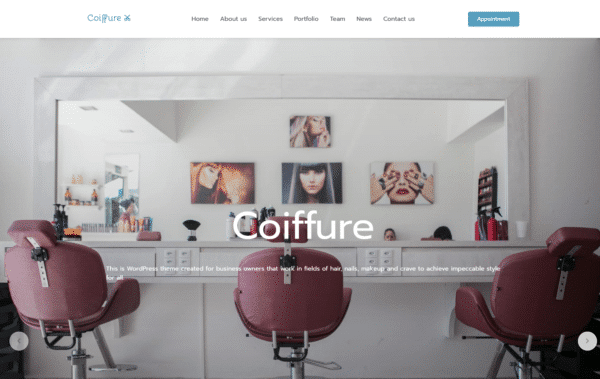 WordPress kotisivut - MegaStroid Coiffure Landing Page